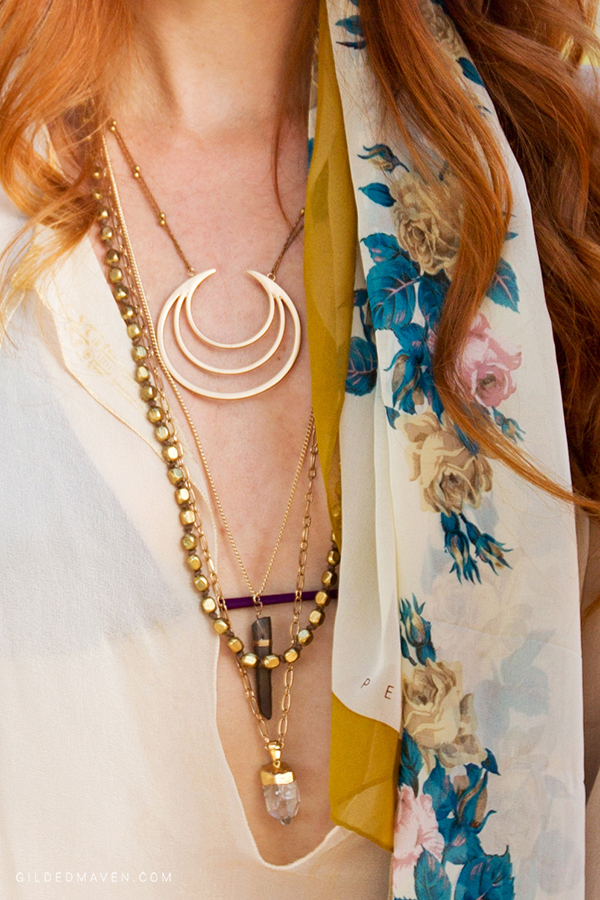 Necklaces from #WorldMarket! Who knew?! LOVE this Breezy Boho Fashion Look from Sedona, Arizona on GildedMaven.com!