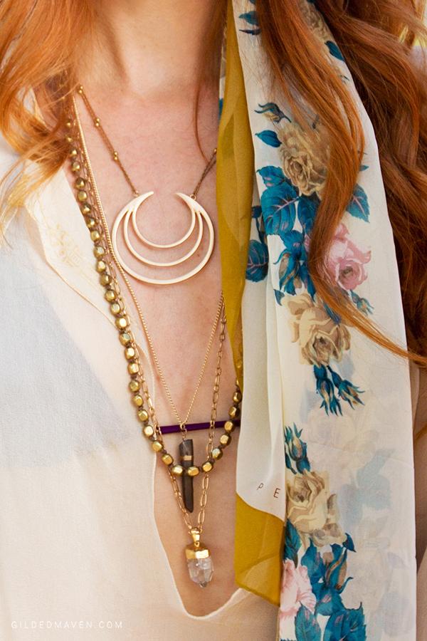 Necklaces from #WorldMarket! Who knew?! LOVE this Breezy Boho Fashion Look from Sedona, Arizona on GildedMaven.com!