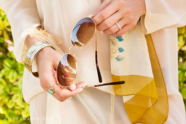 TORY BURCH Sunnies!! LOVE this Breezy Boho Fashion Look from Sedona, Arizona on GildedMaven.com!