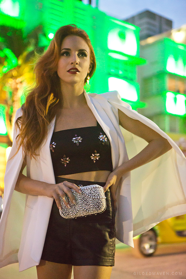 Olcay Gulsen White Cashmere Cape, Santi Clutch from Big Drop NYC - GildedMaven.com in Miami