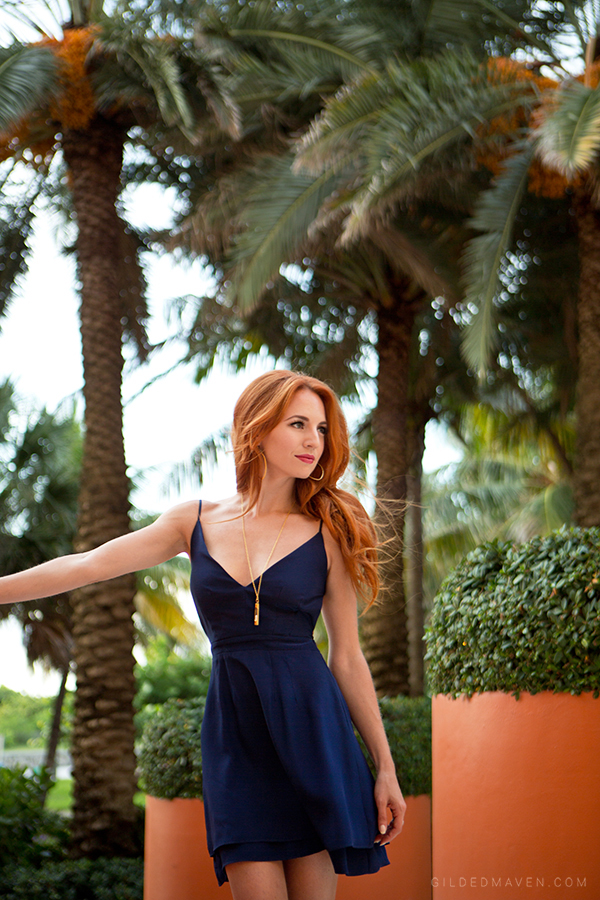 Jennifer Hope Serena Bare Back Sweetheart Dress in navy on gildedmaven.com