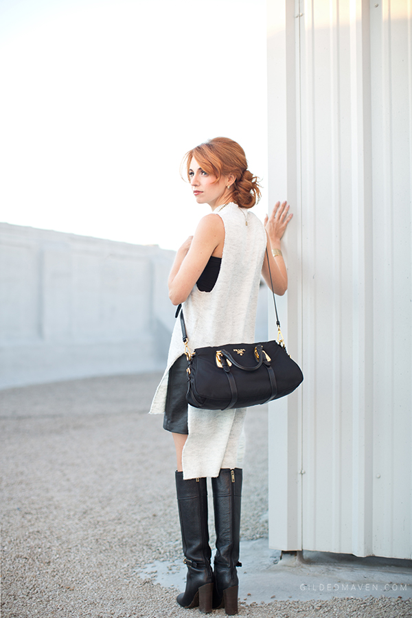 White, Leather and PRADA! <3 Shop the Look gildedmaven.com