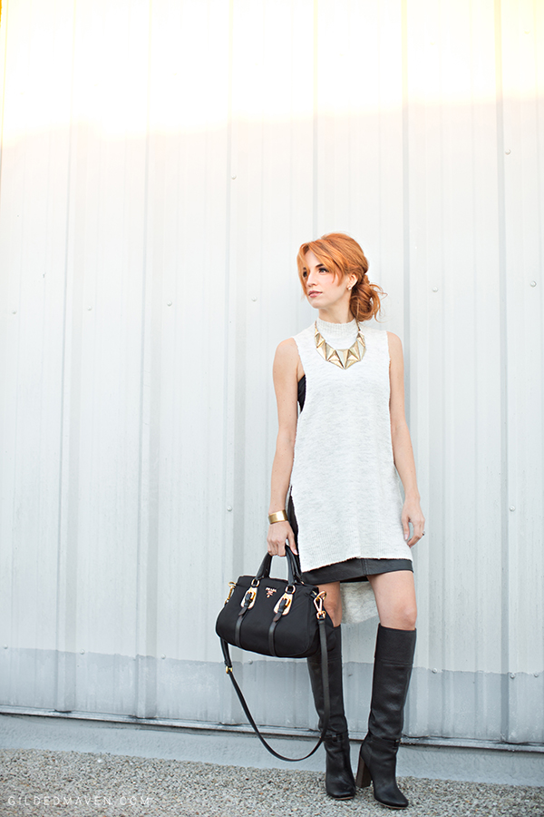 White, Leather and PRADA! <3 Shop the Look gildedmaven.com