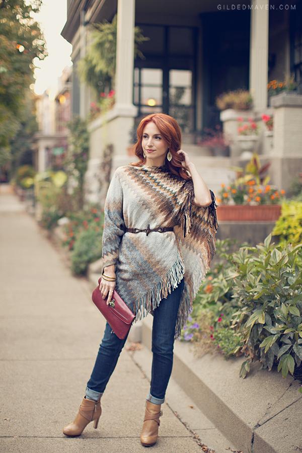 Fall Fashion Staples - Cozy Zig Zag Poncho on gildedmaven.com