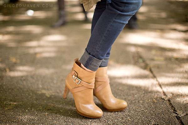 Louise et Cie Tan Booties on gildedmaven.com