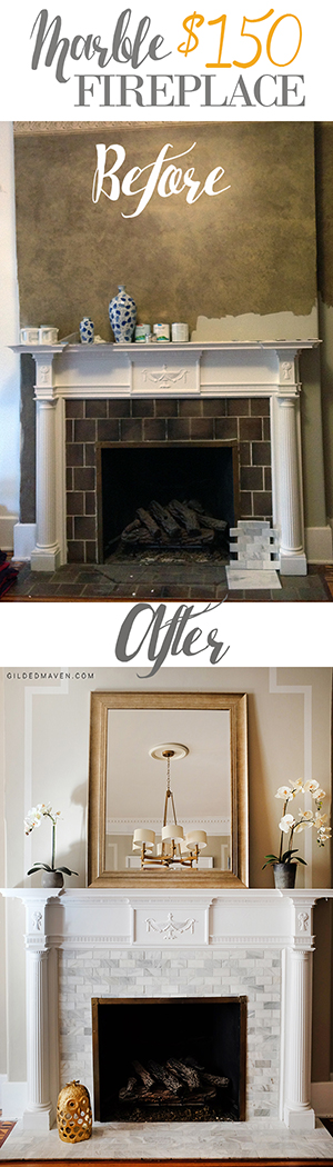 WOW!! $150 #Marble Fireplace reno! Check it out! gildedmaven.com