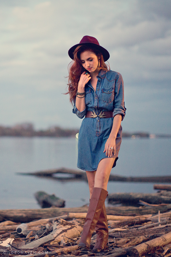 The BEST Denim Shirt Dress EVER!! #fallfashion gildedmaven.com