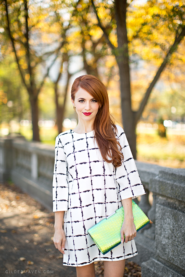 Great outfit idea! Super cute BCBG dress & Milly Clutch! Details on gildedmaven.com!