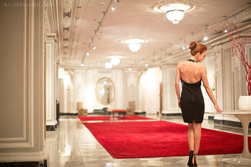 Gucci black halter dress at the Blackstone Hotel Chicago - gildedmaven.com