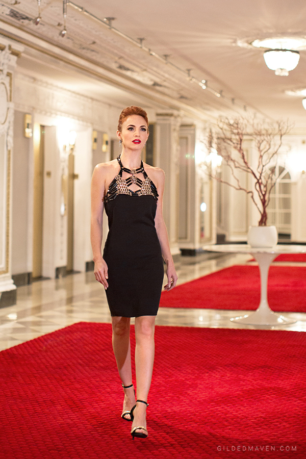 Gucci black halter dress at the Blackstone Hotel Chicago - gildedmaven.com