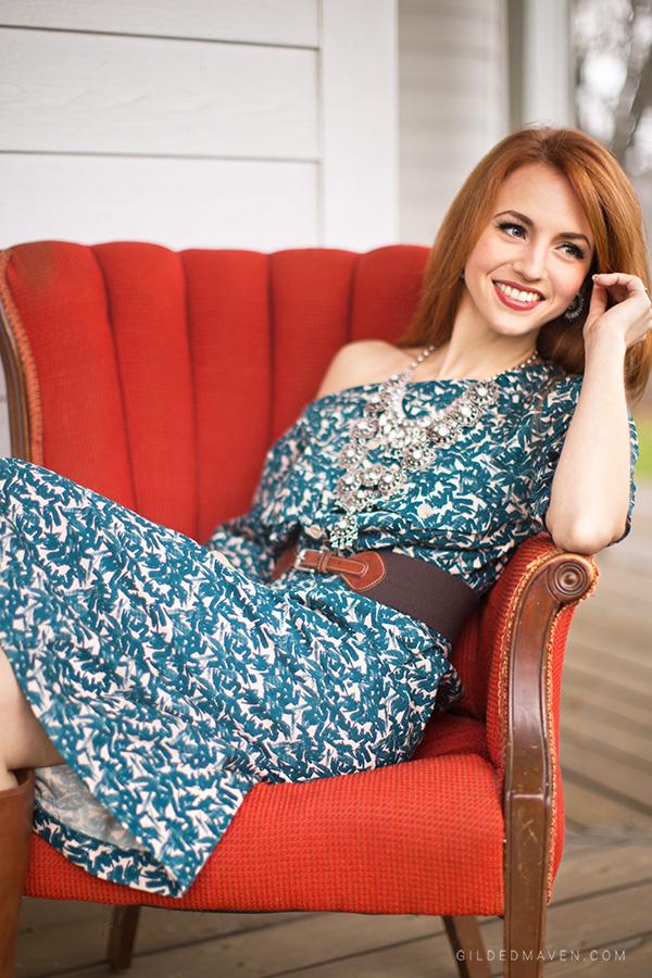 Off-the-shoulder teal dress | GildedMaven.com