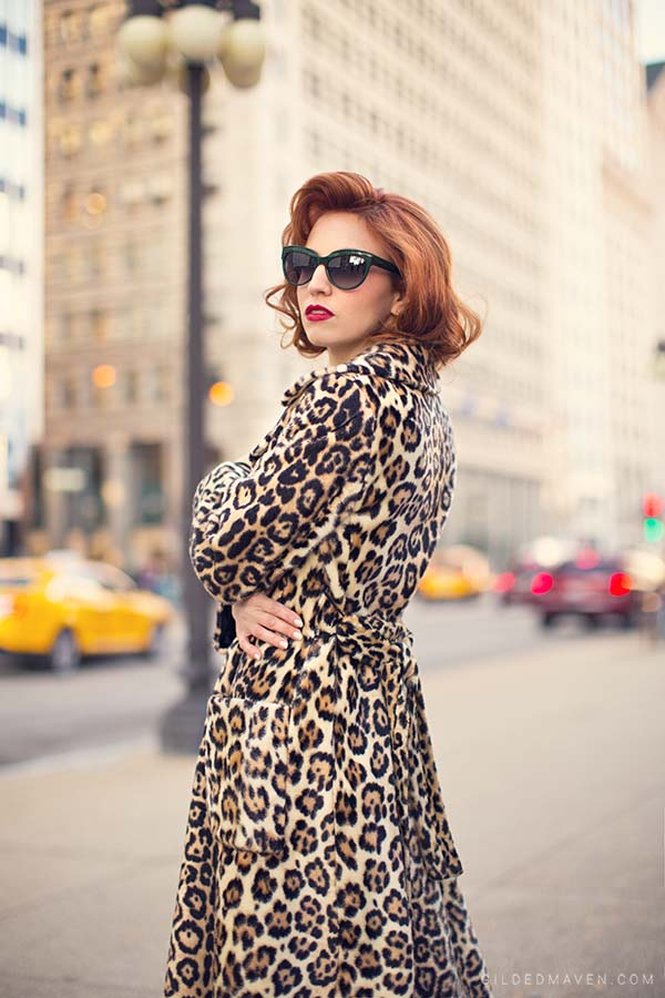 Zac Posen Eyewear & Vintage Faux Leopard Coat - gildedmaven.com