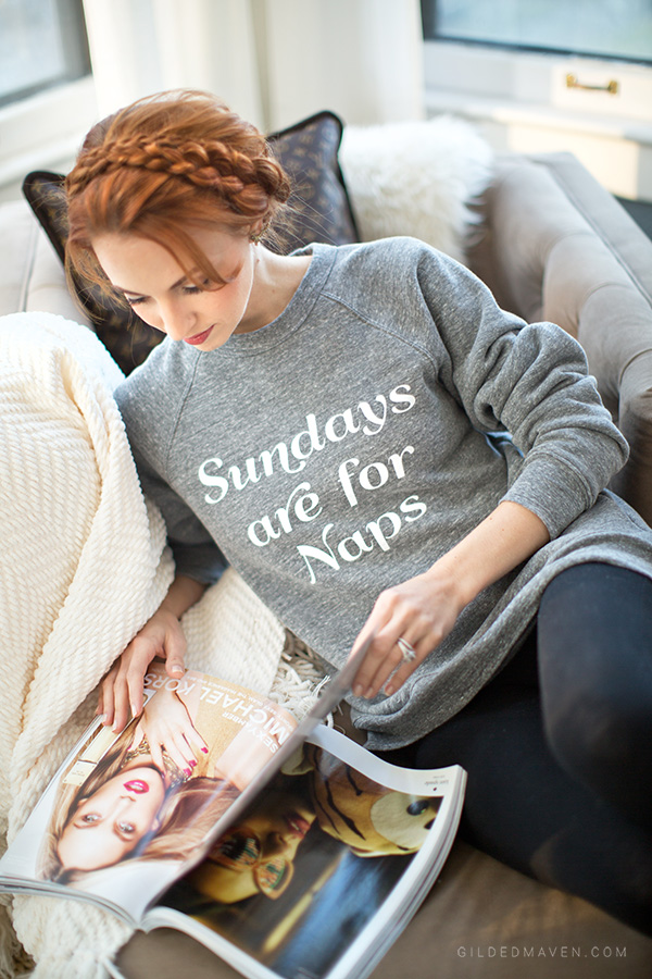 'Sundays are for Naps' sweatshirt on gildedmaven.com