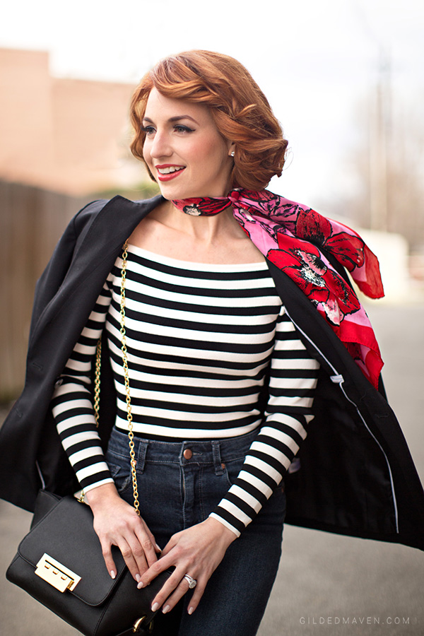Stripes and Red accents! The perfect date-night outfit! SHOP the the look on gildedmaven.com!