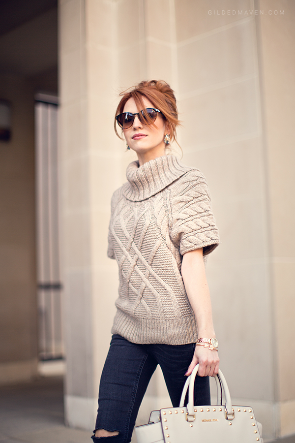 LOVE this look on GildedMaven.com! Knits, ripped jeans & nude pumps.