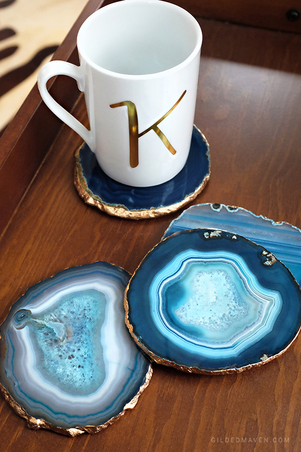 DIY Anthropologie style Gilded Agate Coaster Set Tutorial! This is SO easy and beautiful! Great gift idea too! GildedMaven.com
