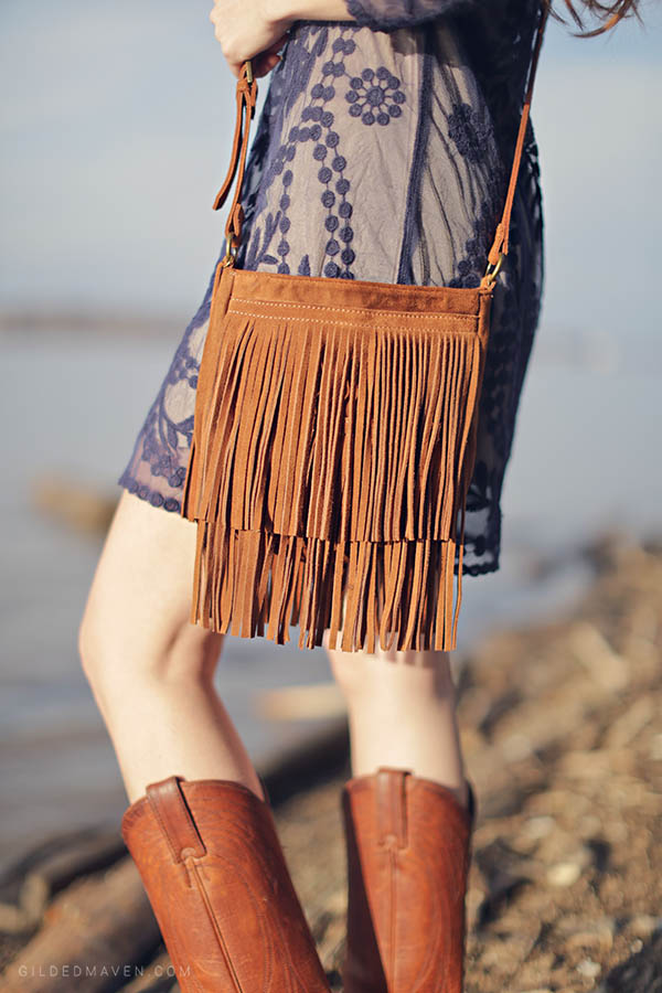 Blue embroidered dress, Frye Cowboy Boots and fringe! Love!
