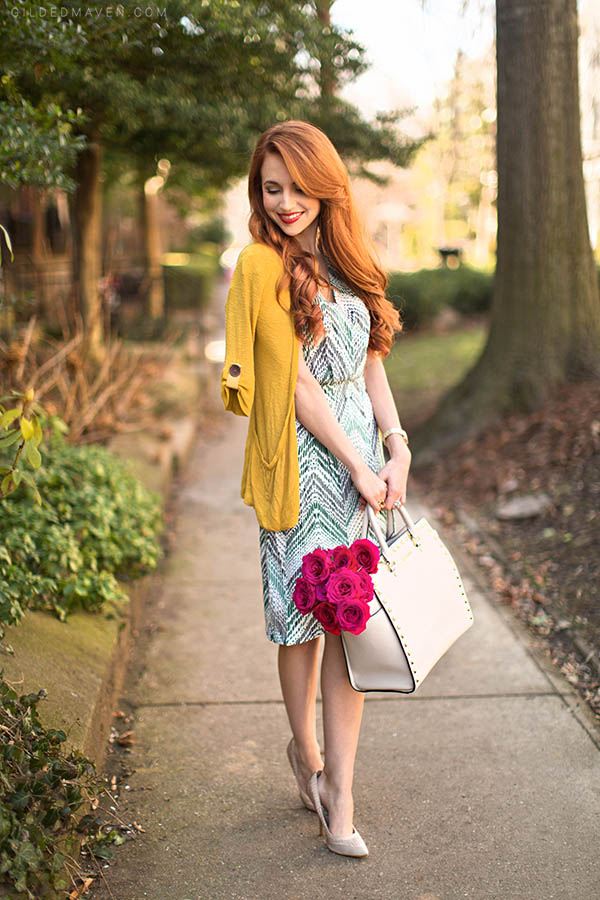 Gorgeous green print wrap dress for only $17.99! Love these spring fashions on GildedMaven.com